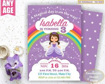 Fairy Birthday Invitation Purple Invitations Girl Invite Pink Invites Magical Day Printable Rainbow Birthday Princess BDF1