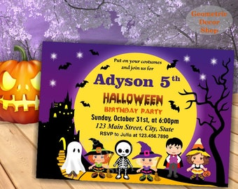 Halloween birthday invitation invite fall costume party boy girl party BDH3