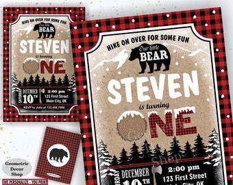 Rustic Lumberjack Birthday Party Invitation / Lumberjack Invite / Red Plaid / Bear / Boy / One / 1st / First / Digital PRINTABLE BDBear1