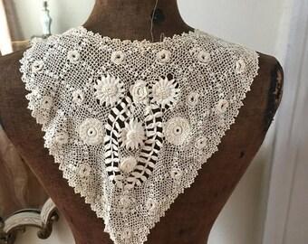 SALE Antique handmade lace irish crochet collar