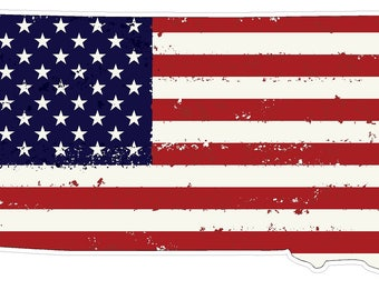 South Dakota State (J42) USA Flag Distressed Vinyl Decal Sticker Car/Truck Laptop/Netbook Window