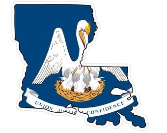 Louisiana State (Q19) Shape Flag Vinyl Decal Sticker Car/Truck Laptop/Netbook Window