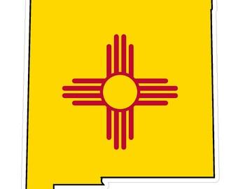 New Mexico State (Q32) Shape Flag Vinyl Decal Sticker Car/Truck Laptop/Netbook Window
