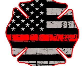 """Fire Deparment Logo (T24) USA 4"""" Firefighter Vinyl Decal Sticker Car Window"""