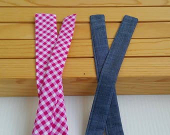 """NEW Bow kits, ready to ship, 1"""" and 1.5"""" wide sizes. Michael Miller Pink gingham"""