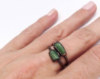 Chrysoprase Ring, Chrysoprase Copper Ring, Green Stone Ring, Gemstone Stacking Ring, Chrysoprase Stacking Ring, Antique Copper Ring