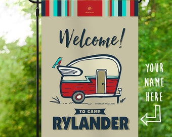 Custom Camping Flag, Red Welcome to Camp, Personalized Garden Flag, Vintage RV Happy Camper Campsite Campground Sign Glamping Banner 12x18in