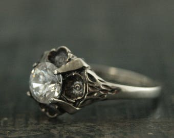 Floral Engagement Ring~Antique Style Ring~Vintage Style Ring~Flower Ring~Silver Engagement Ring~Promise Ring~La France~Cubic Zirconia Ring