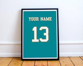 Miami Dolphins - Customisable Name and Number Print.