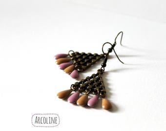 Earrings ethnic Sequin enamel Pastel