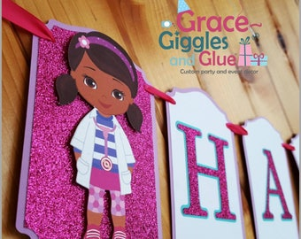 Glitter Doc Girl Inspired Happy Birthday Banner