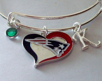 NFL Patriots Heart CHARM Bangle W/ Birthstone / Initial Football Charm Bangle / Bracelet - Patriots Bracelet -Gift  NFL Bangle  Usa