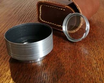 Vintage 34 mm Metal Lens Hood Kit for TLR or Rangefinder Camera with Leather case