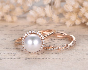 akoya pearl engagement ring set solid 14k rose gold halo diamond band 2pcs bridal ring set - Pearl Wedding Ring Sets