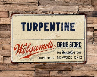 Wolgamot'S Drug Store Turpentine Vintage Look Reproduction Sign 8 X 12 8120380