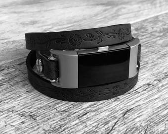 Luxury Black Leather Bracelet for Fitbit Charge 2 Fitness Activity Tracker Handmade Multi Wrap Embossed Adjustable Fitbit Charge 2 Band