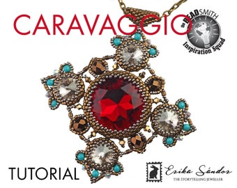 Caravaggio pendant - instant download beading tutorial with 27 mm cabochon, rivoli and Miyuki Japanese seed beads