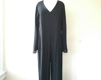 Vintage The Original inc Black sheer sleeve jumpsuit