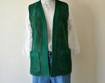 Vintage 1970s green suede leather vest