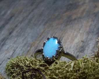 Sterling Silver Aura Opal Ring