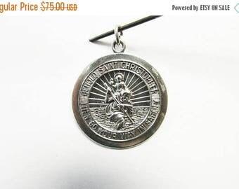On Sale Vintage Estate Sterling Silver Saint Christopher Pendant