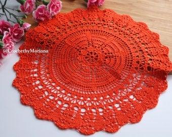 Orange doily Crochet doily Round crochet doily, Handmade doily crochet lace doily Crochet table decoration, Crochet placemat,easter doily