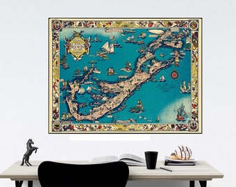 Bermuda Islands, 1930s Bermuda Map, Bermuda Travel Poster, Office Wall Art, Historical Map, Geography gift, Apartment Decor, West Indies