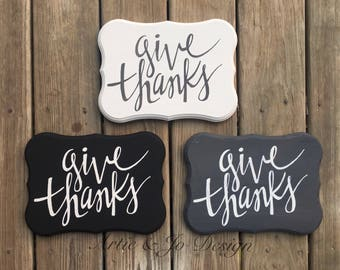 "Rustic Farmhouse Fall Decor ""Give Thanks"" Wood Sign"