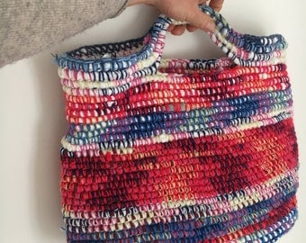 Recycled fabric Crochet Bag / Handbag / Tote / Holdall