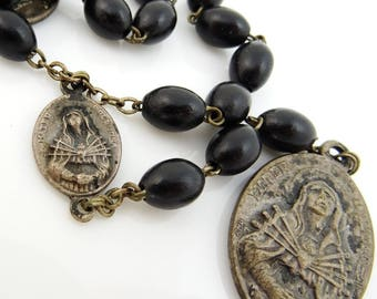 Vintage Chaplet Rosary of the Seven Sorrows of Mary Black Beads Mater Dolorosa
