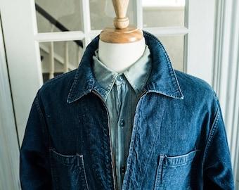 1950's USN Selvedge Denim Chore Jacket Shop Coat Cone Raw RRL lvc levis Post overalls tellason work usn ww2 Buzz Rickson Nigel Cabourn deck