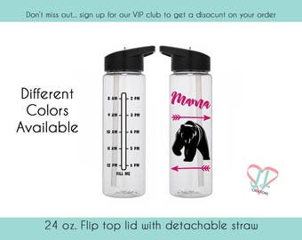Water Bottle with Times - 24 oz. - Water Bottle - Mama Bear - Gift for Mother - several colors available - cute water bottle - gym bottle