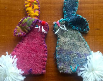 Children's Bunny Rabbit Finger Puppet - Hand-stitched Toy Made with Felted Wool Sweater and Jeans