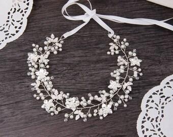 Bridal Hair Vine Crystal Pearl Leaf Hair Wreath, Wedding Hair Vine, Bridal Hair Piece, Flower Hair Vine with Ribbon, Silver Bridal Headpiece