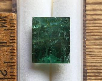 Green tourmaline rectangular baguette cut gemstone 9.10ct