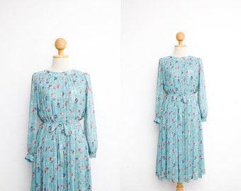 Vintage 70s Dress   Japanese Vintage Dress   Sheer Chiffon Pleated Dress   Baby Blue Floral Print   Long Sleeve Party Dress   Dinner Dress
