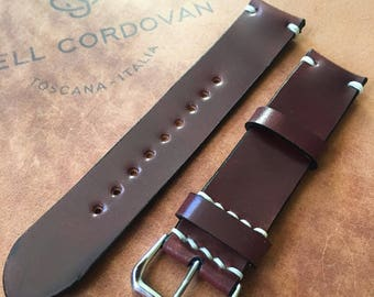 Shell Cordovan Watch Strap, burgundy