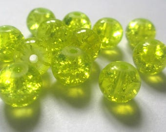 10 yellow Crackle Glass 8mm beads