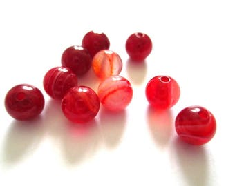 vibrant red 6mm 20 striped agate beads