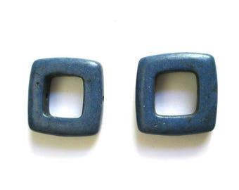 2 square 19mm blue howlite beads