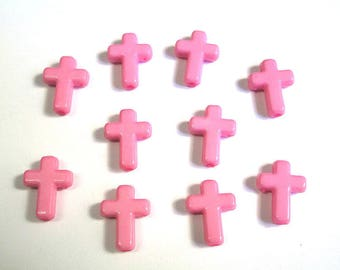 10 16 x 12 x 4 mm pink acrylic cross