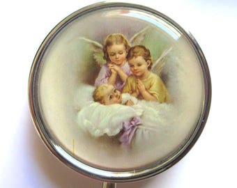 Pill box / box teeth Silver 3 compartments Angels pattern