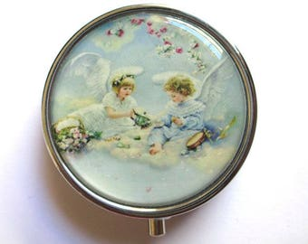 Pill box /boite teeth Silver 3 compartments Angels pattern