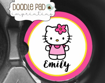 Hello Kitty Car Coasters, Monogrammed Car Coaster, Cup Holder Coaster