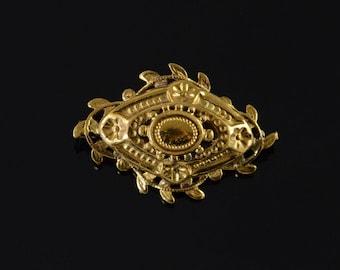 Gold Filled Vintage Flower Embossed Pin/Brooch Gold Plated