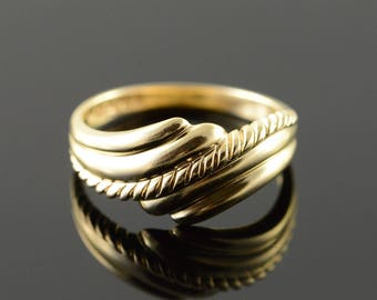 14k Bypass Scroll Band Ring Gold