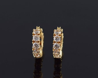 14k 1.20 CTW CZ Hoop Cuff Earrings Gold