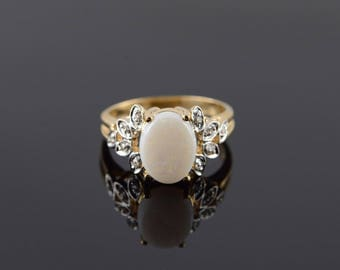 10k 0.55 CTW Oval Opal* Diamond Ring Gold