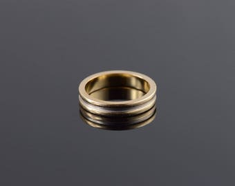 14k 3.9mm Grooved Two Tone Wedding Band Ring Gold