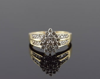 10k 0.50 CTW Diamond Cluster Ring Gold